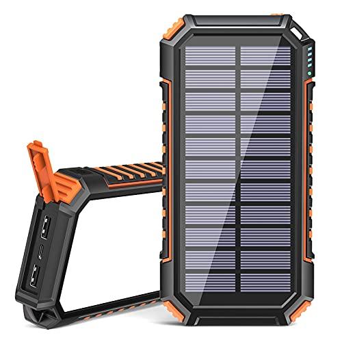 Powerbank Solare 26800mAh, Riapow Caricabatterie Solare Portatile con 60 LED Luminosi e 3 Uscite USB, Caricabatteria per Telefono Solare a Ricarica Rapida per iPhone Samsung Campeggio ed Esterno