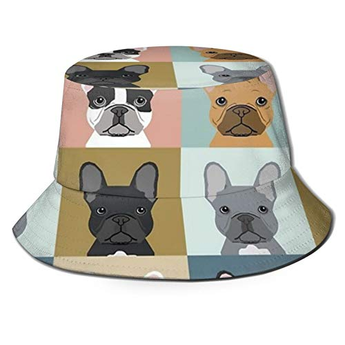 Fisherman Hat French Bulldog Frenchie Portraits Dogs Puppy Pet Sun Bucket Hats Beanie Cap Outdoor Fishing Hiking for Mens Womens Black
