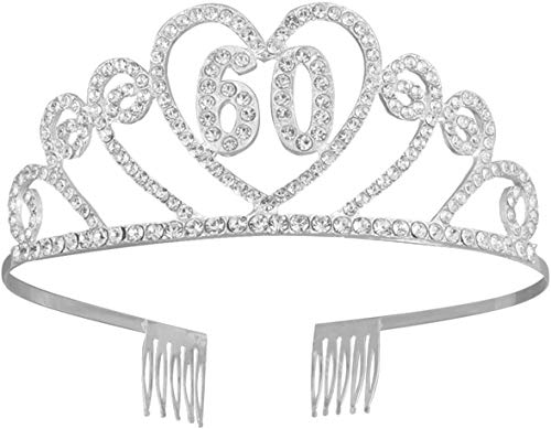 LQXZJ 13 cumpleaños de la Corona del Rhinestone con el Peine, cumpleaños Rhinestone Tiara cristalina de la aleación Fiesta de cumpleaños número Headwear Corona con el Peine for (Plata)