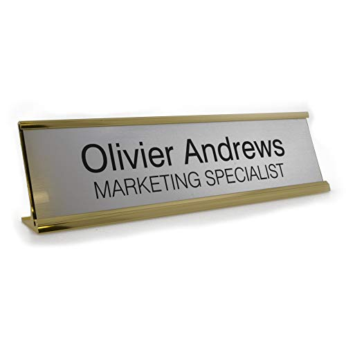 Badgemaster Custom Personalised Office Home Desk Name Plaque Gold/Silver