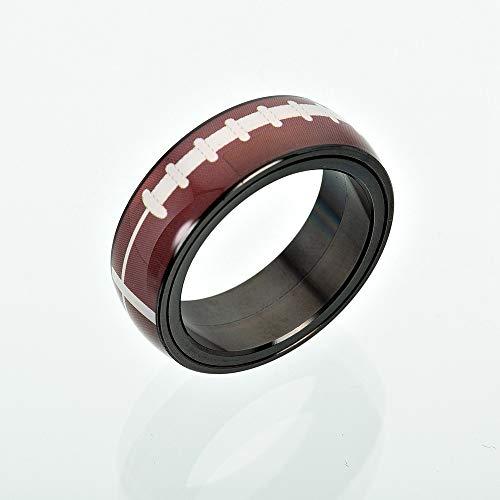 GMZDD Sports Rotierende Kugelringe Edelstahlschmuckzubehör EIN einzigartiger Ring kann Ihnen viel Glück bringen Fußball 13