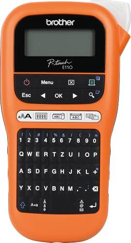 Brother PT-E110 Industrielles Beschriftungsgerät (für 3, 5 bis 12 mm breite TZe-Schriftbänder, Beschriftung von Kabeln und Anschlüssen), orange