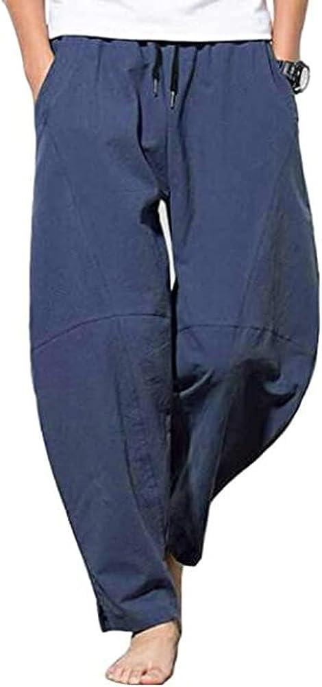 UN-BRAND Mens Linen Pants Loose Casual Lightweight Elastic Waist Summer Harem Trousers