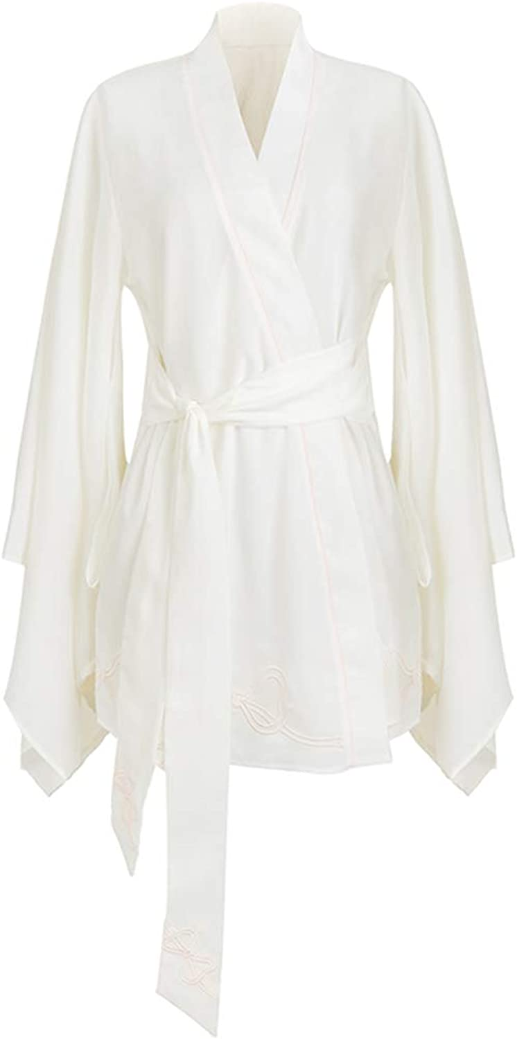 Bathrobe Hanfu Lace Robe Shawl Robe Cape Yukata Robe Luxury Sexy Wind Pajamas   Female   White (Size   M)
