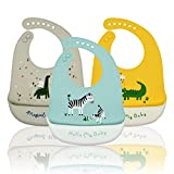 Baogaier Lätzchen Silikon Baby Wasserdichte, Silikon-lätzchen Babylätzchen mit Auffangschale Zum Bemalen BPA Frei Abwaschbar Verstellbare Einfache Reinigung Zebra Krokodil Dinosaurier zum Jungen, 3PCS