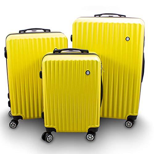 Barut® Kofferset 3-teilig Reisekoffer Trolley Hartschalenkoffer ABS Teleskopgriff Modell General (Gelb)