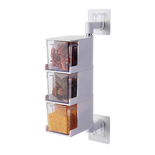 Local Makes A Comeback - Kryddbehållare av plast med sked - Vridbart krydda till väggen utan köksnaglar 3 vita lager