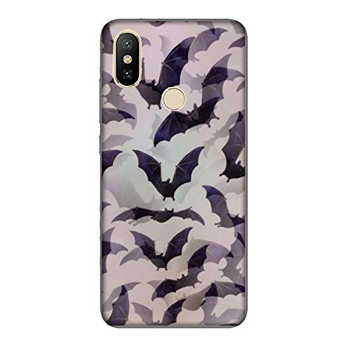 Funda Mi A2 Carcasa Xiaomi Mi A2 Víspera de Todos los Santos murciélagos / Cubierta Imprimir también en los lados / Cover Antideslizante Antideslizante Antiarañazos Resistente a golpes Protectora
