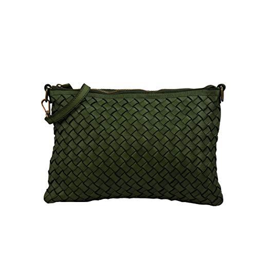 SH Leder Vintage Geflochten Umhängetasche Clutch mittelgroße Tasche Abendtasche Geflochtene Premium Rindsleder Echtleder 30x21cm Stella G898 (Oliv Grün)
