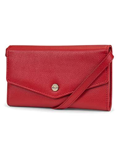 Timberland Damen RFID Leather Wallet Phone Bag with Detachable Crossbody Strap Umhängetasche, Kirsche (Kieselstein), Einheitsgröße