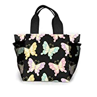 トートバッグ ランチバッグ お弁当バッグ 手提げバッグ 蝶の和風 バタフライ 食品収納 大容量 軽量 メッシュポケット付き ファミリー 日常用