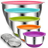 Mixing Bowls with Airtight Lids, Blingco Stainless Steel Metal Nesting Bowls Set of 5, Size 5, 3, 2, 1.5, 0.63 QT,3 Grater Attachments, Colorful Non-Slip Bottoms,Great for Mixing & Serving