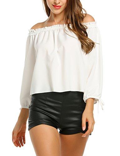 Parabler Damen Schulterfrei Bluse Elegantes Oberteil Langarm mit Schleife an Ärmeln Trägerlos Shirt Tunika Sexy Oversize Top Lässige Locker T-Shirt Weiß L