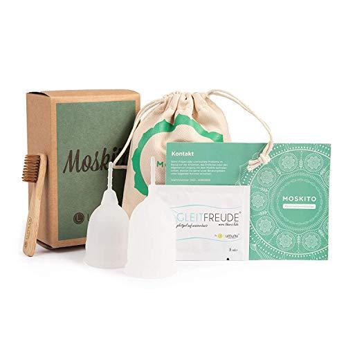 Deluxe Menstruationstassen MOSKITO im 2er-Set, Menstruationskappen aus 100% Silikon, umweltschonende Tampon-Alternative inkl. Natur Reinigungsbürste & Aufbewahrungsbeutel, von Venize