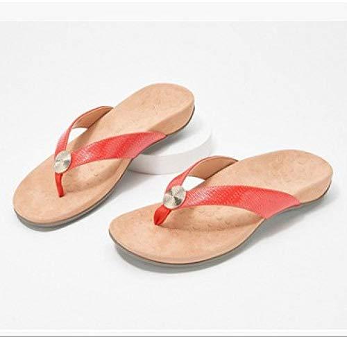 MedusaABCZeus Sandalias de Verano Playa,Chanclas Antideslizantes, cómodas Sandalias de Mujer de Talla Grande-Rojo_39,Toe Post Sandals