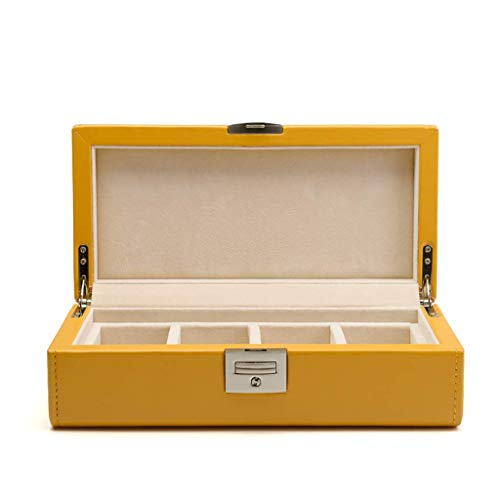 JYDQM Caja de Reloj for los Hombres - 4 Ranura Caja de visualización de Fibra de Carbono for Hombre, Grande Holder, Hebilla de Metal (Color : A)