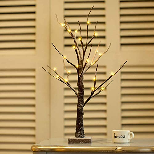 Padoo 2FT 24LED Battery Operated Bonsai Tree with Lights Snow Little Dusted for Indoor Decorations.
