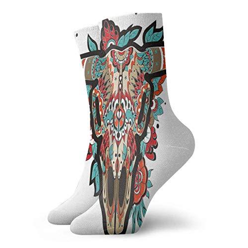 Buffalo Sugar - Calcetines para mujer, diseño de calavera mexicana, diseño ornamentado, diseño de animales cuernos, 30 cm