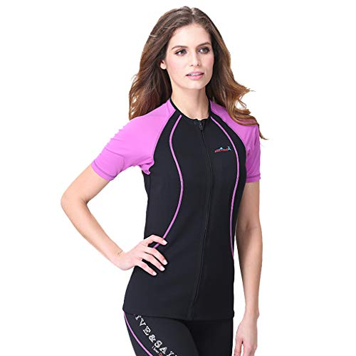 CapsA Lightning Premium Neoprene Wetsuit for Women 1.5MM Neoprene Thermal Winter Diving Wetsuit Winter Swimming Surfing Purple