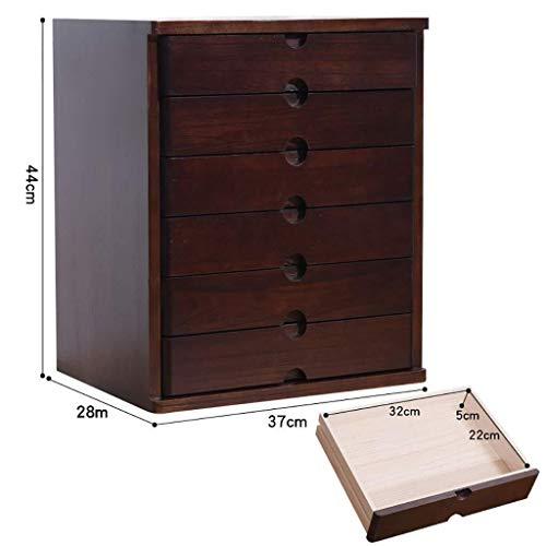 YEMOPDB ladensorteerder - File Cabinets, Desktop opbergdoos, plank, meerlaagse ladekasten, massief hout, walnoot kleur