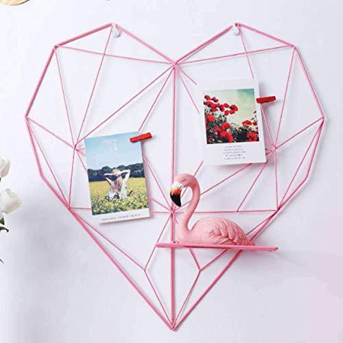 xiaoyamyi Pratico Design Ferro a Forma di Cuore Foto Cornice Muro Rete Griglia Quadro Appeso Display Raggiera - Rosa 50, Altezza 50.5