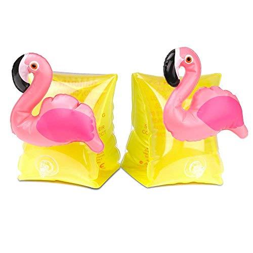 Gshy Inflable Flamingo Unicorn Arms Niños Natación Ayuda Barco para niños Mangas inflables para Piscina Brazalete de Piscina de Juguete para bebés de 2 a 8 años (flamante)