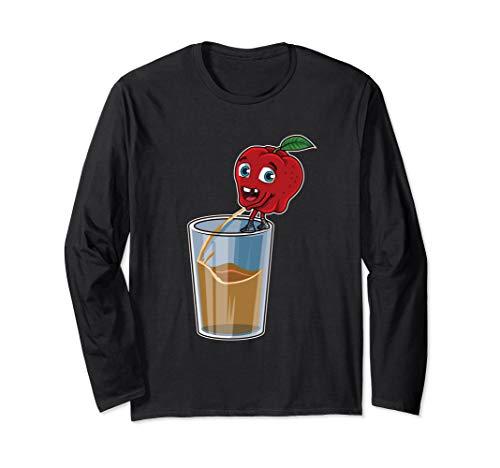 Apfel pinkelt in ein Glas | Frischer Apfelsaft Langarmshirt