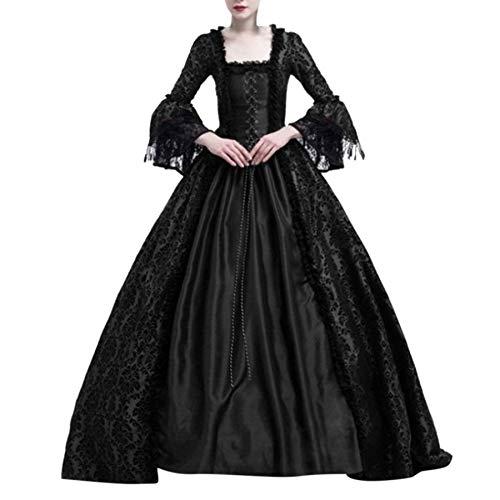 SALUCIA Damen Mittelalter Gothic Kleid Spitze Satin Trompetenärmel Bodenlanges Retro Kostüm Gewand Viktorianisches Renaissance Prinzessin...