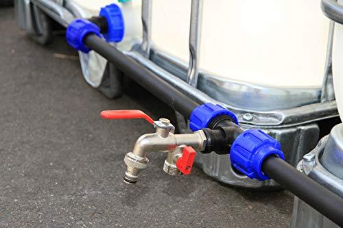 VOXTRADE Juego de conexión para tanques IBC de 1000 litros, tanques de agua de lluvia, barriles de lluvia y bidones – conexión (juego para 6 depósito)