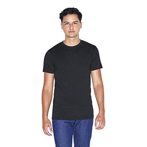 American Apparel Men's 50/50 Crewneck Short Sleeve T-Shirt, 2-Pack, Black, Large