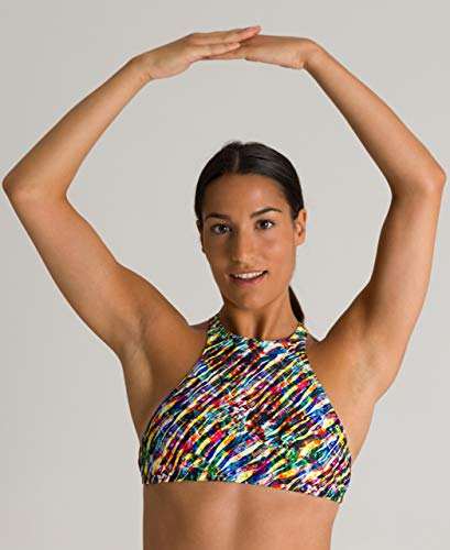 Arena Women's Standard Rule Breaker Think Crop MaxLife Bikini Top, Black Multi-Black, XXS