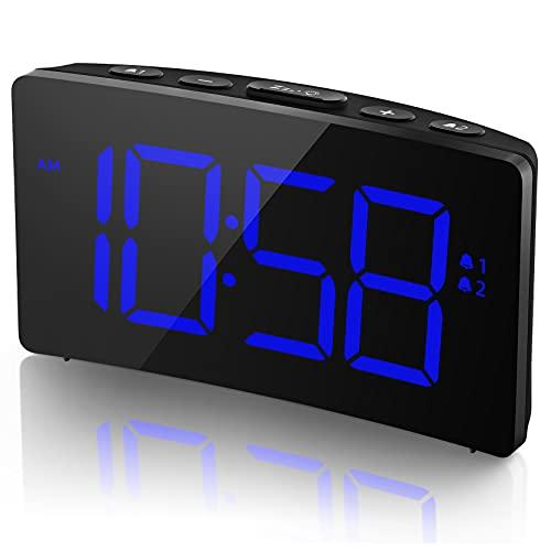 Holife Sveglia Digitale Sveglia da Comodino 6 Luminosità Regolabile 2 Allarme con 3 Suoni 3 Volumi Regolabile Porta di Ricarica USB 5'' LED Grande Schermo Snooze 12/24 Ore(Adattatore Non Incluso)