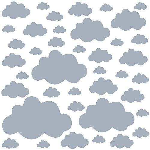 PREMYO Set 40 Adesivi Murali Bambini Nuvole - Wall Stickers Muro Cameretta - Decorazione Parete Camera da Letto Grigio