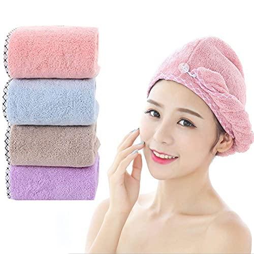 ZSCC Toallas para secar el cabello, turbante envolvente, paquete de 4, microfibra, súper absorbente, cabello suave, sombrero de secado rápido, turbante de cabeza giratoria, baño, ducha, gorros para