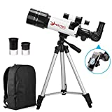 MOUTEC Telescope for Kids and Beginners with Backpack Smartphone Adapter, Portable 70mm Refractor Travel Telescope for Camping - Great Astronomy Gift for Kids to Explore Space Moon Star