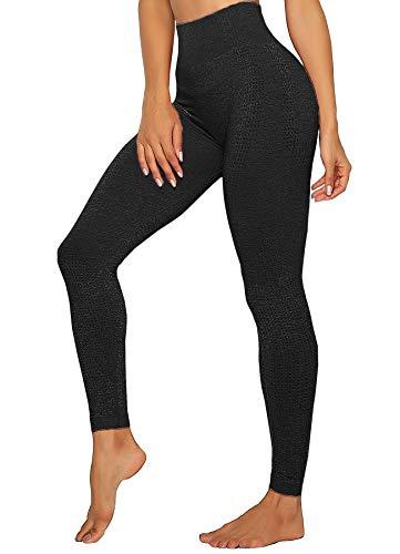 INSTINNCT Damen Yoga Lange Leggings Slim Fit Fitnesshose Sporthosen #4 Klassische Stil - Schwarz XL