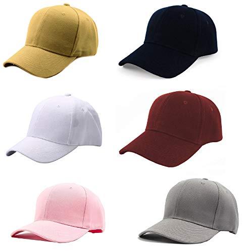 FashMade 6 Baseball Combo Unisex Cap Boys/Girls/Mens/Women Caps Black-White-Beige-BABYPINK-Grey-Maroon