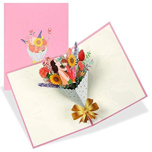 Tarjeta de Felicitación,Tarjeta Del Día De La Madre,Tarjeta de Felicitación 3D,Tarjeta de Felicitación Flor,Tarjeta Felicitacion Postales con Sobre, El Mejor Regalo Cumpleaños para La Madre