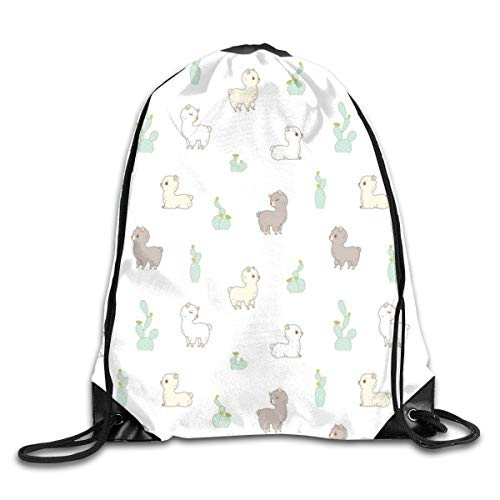 show best Cactus and Alpaca Pattern in White Drawstring Gym Bag for Women and Men Polyester Gym Sack String Backpack for Sport Workout, School, Travel, Books 14.17 X 16.9 inch