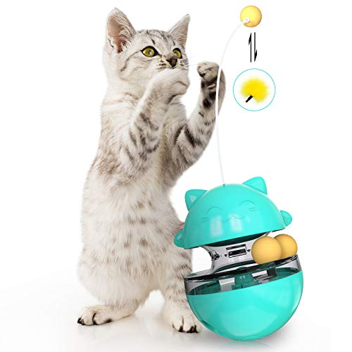 DASIAUTOEM Katzenspielzeug, Interaktives Spielzeug für Katzen, 360° Selbstdrehender Ball, Futterball für Hunde und Katzen Tumbler Haustierfutter mit Feder Dangler für Langsam Fütterung Training