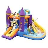 HIZLJJ Aufblasbare Bouncy Slide-Schlag-Haus 6 in 1 mit Slide Basket Hoop Kletterwand Tunnel Blower Startseite Kleine Trampoline Spielhaus Frech Castle Toy
