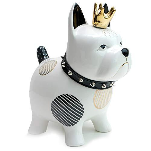 Exner Spardose Bulldogge aus Keramik schwarz weiß Gold mit Nieten-Halsband Design-Sparbüchse Hund mit Krone