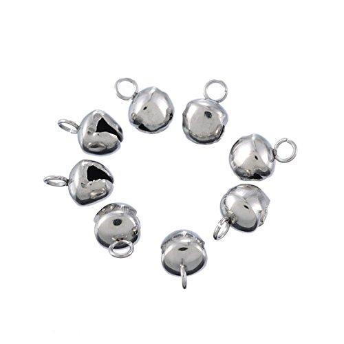 YF 10STKS roestvrij staal Dull zilver Tone kleine bel bedelhanger voor sieraden maken vondsten 8x5.3mm