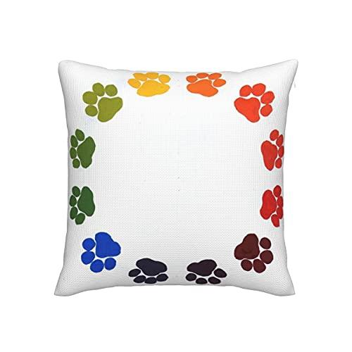 Paw Prints - Fundas de almohada para sofá, decoración del hogar, 45,7 x 45,7 cm