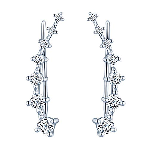 Yumilok Damen Knorpel Schmuck Ohrklemme Ohrring Ohrstecker Ohrclip Piercing 925er Sterling Silber mit Kristall für Mädchen Silber