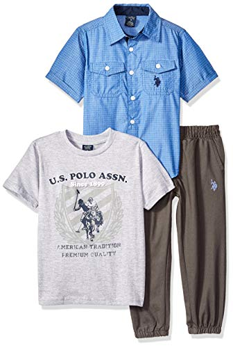 U.S. Polo Assn. Boys' Toddler T, Sport Shirt Set, Jogger Pant Multi Plaid, 3T