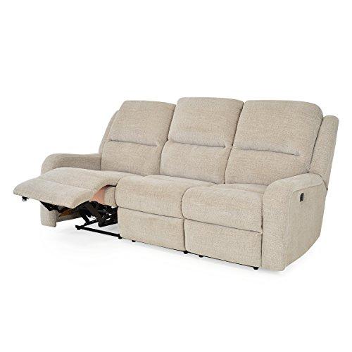 Sofá Kyra de tela, 3 asientos, 2 reclinables eléctricos
