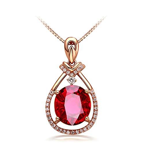 ButiRest Collar de oro auténtico para mujer de 3,8 quilates con turmalina roja, corte ovalado con diamante de 18 quilates 750 oro rojo lágrima cadena larga para mujer con colgante