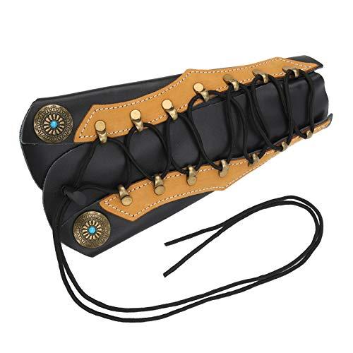 DAUERHAFT Protector de antebrazo de Tiro con Arco de diseño ergonómico Protector de Brazo de Piel de Vaca 26 cm / 10,2 Pulgadas, para arqueros Profesionales y entusiastas del Tiro con Arco