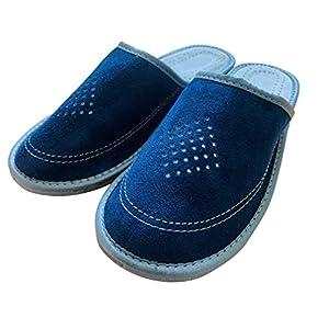 Dunkelblaue Hausschuhe für Herren handgefertigt mit Leder und rutschfesten Gummi bequemen Schuhen für Ehemann